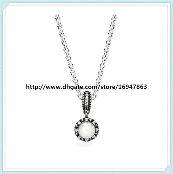 100% 925 Sterling Silver Chain Sparkling Pearl Drop Pendant Necklace with Clear Cz Fits Pandora Style Jewelry Charms and Beads
