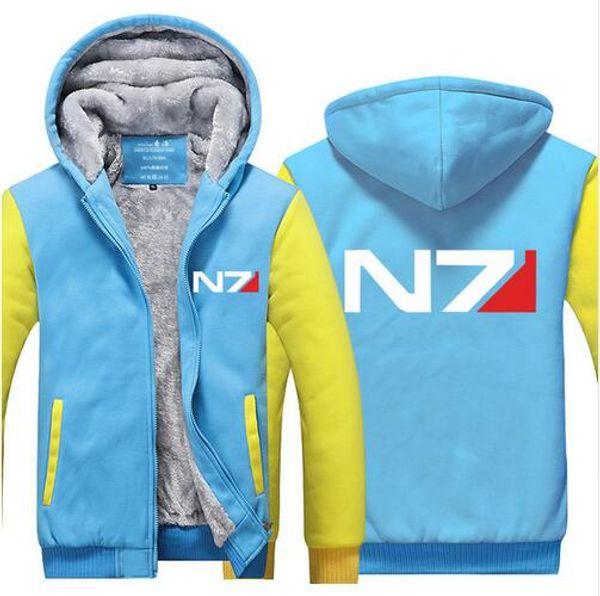 2017 new arrival Mens Game Casual Winter Hoodie Mass Effect Thicken Fleece N7 Fashion Winter Coat Sweatshirt US EU Plus Size