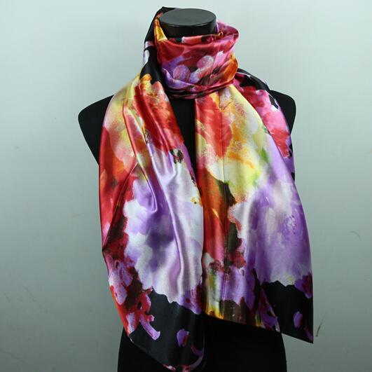 best selling 9STYLES Lavender Red Black Lily Flower Women's Fashion Satin Oil Painting Long Wrap Shawl Beach Silk Scarf 160X50cm S82-s90