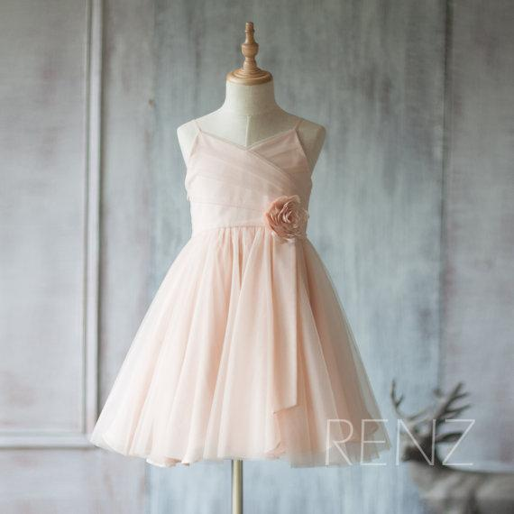 201 Peach Junior Bridesmaid Dress, Spaghetti Strap Flower Girl Dress, Rosette dress Floor length