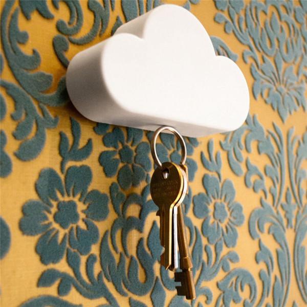 4PC 4 Colors White Cloud Shape Key Holder Creative Home Storage Holder Hanger Magnetic Magnet Keychain Holder Wall Decor Gift