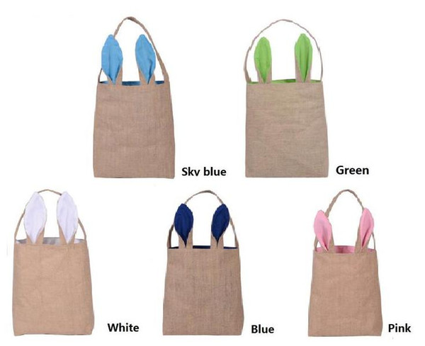 5 Colors Bunny Ears Basket Easter gift bag classic rabbit ears canvas cloth bag put easter eggs for kids Easter Sunday Decoration