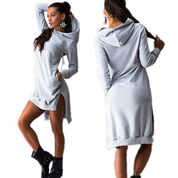 All'ingrosso-Mavodovama 2015 O-collo maniche lunghe in cotone da donna Abiti moda casual nero inverno con cappuccio lungo abito Plus Size Vestidos