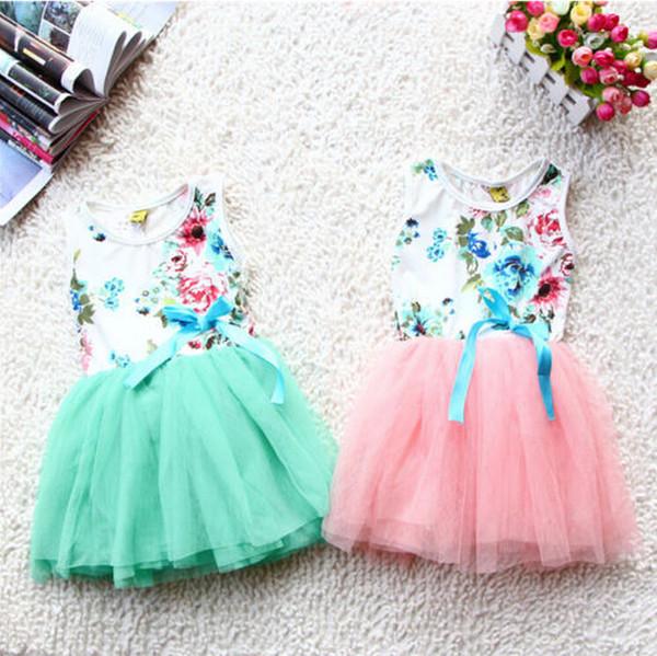 summer floral baby girl dress princess tutu dress 3 color for 2-5 age infant dresses kids clothing