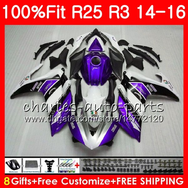 Injection Cowling For YAMAHA YZF-R3 YZF-R25 YZF R 3 R 3 YZFR3 Body Purple white 83NO46 YZFR25 R25 14 15 16 R 25 R3 2014 2015 2016 Fairing