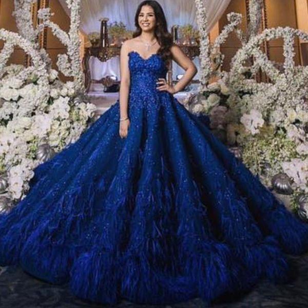 Großhandel Royal Blue Amazing Feder Ballkleid Brautkleider ...