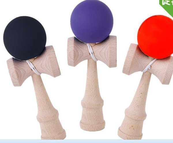Rubber Kendama Ball Japanese Traditional Wood Game Kids Toy Rubber Paint & Beech,mix color
