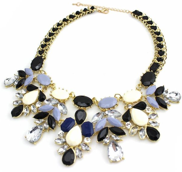 woman 2015 fashion jewelry Water drop bib choker shourouk style Accessories Pendant Rope chain short statement necklace