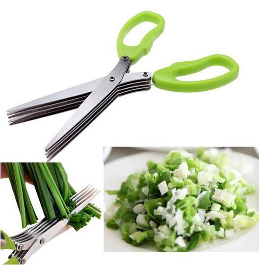 top popular Stainless Steel Cooking Tools Kitchen Accessories Knives 5 Layers Scissors Sushi Shredded Scallion Cut Herb Spices Scissors 2020