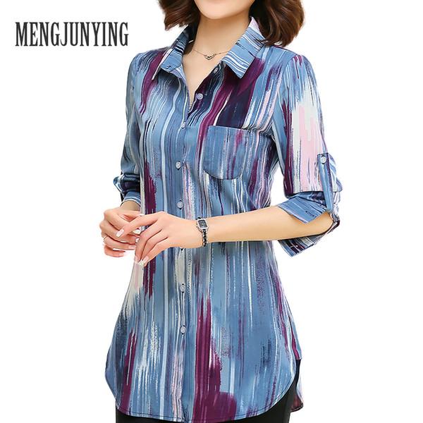 En gros-MJY Blouse Shirt 2017 mode Imprimer Femmes M-5XL Plus La Taille À Manches Longues Slim Blouse Office Work Wear chemises Tops Blusas Femelle 717