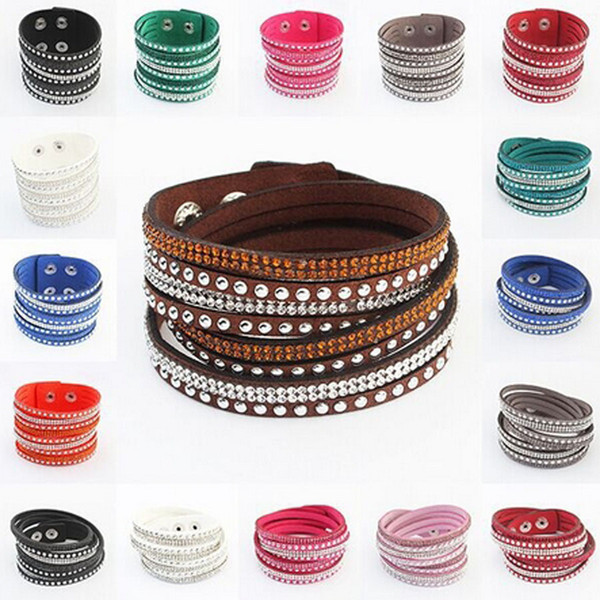 9 colors crystal bracelets for women leather braided crystal bracelets rivets long wrap crystal bracelets free shipping