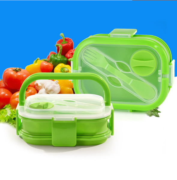 700ML Collapsible Silicone Bowl Lunch Box with Lid Support Microwave Heating