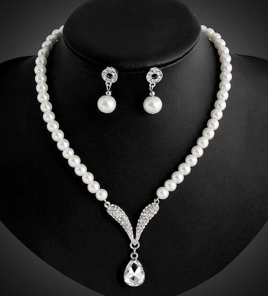 Brautjungfer Schmuck Set für Hochzeit Kristall Strass Tear Drop-Shaped Modeschmuck Perlenkette Anhänger Ohrring Partei Schmuck Sets