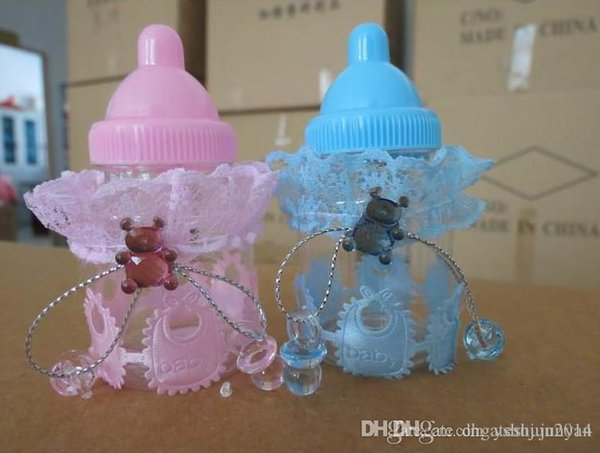 New baby shower favors Blue pink Milk Bottle Candy Box With Bear Lace Candy Boxes candy bag For baby shower party Decorations supplies