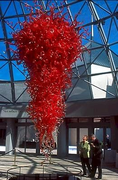 Large Hotel Chandelier Light Luxury Led Light Pendant 100% Mouth Blown Borosilicate Red Color Murano Glass Chandelier Lighting