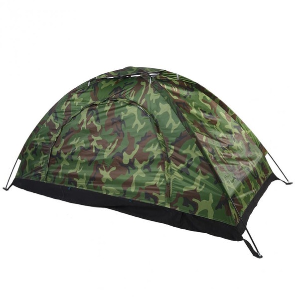 best selling Wholesale- Outdoor Camping Hiking One Person Tent Camouflage UV Protection Waterproof Tent With Tent Stakes And Poles