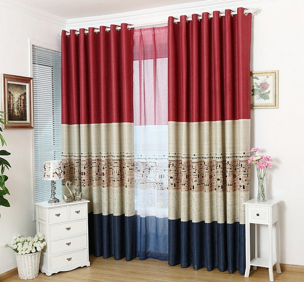 top popular Wholesale Eco-Friendly Blackout Curtains Stripe Window Treatment Drape Cloth Curtain+Tulle Customized Shade  Drapery Home Trimming Decor 2020