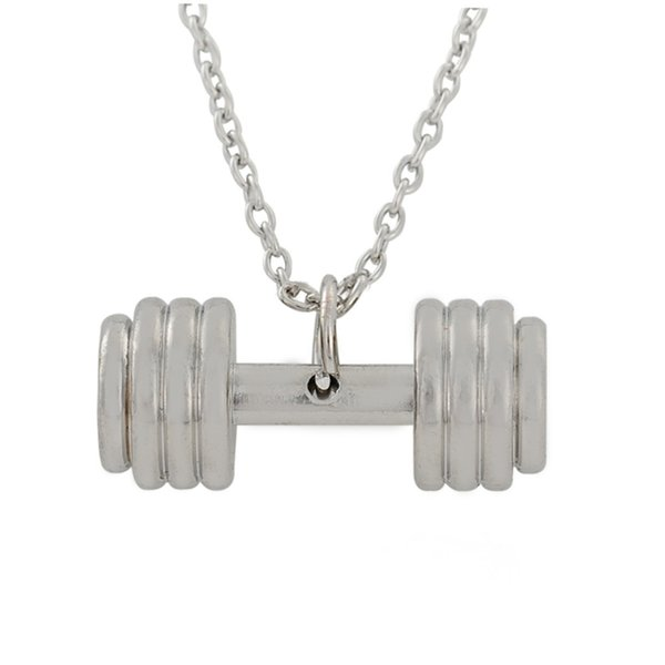 Collana di fitness gioielli di individualità collana di pendenti di manubri con bilanciere all'ingrosso-sportiva