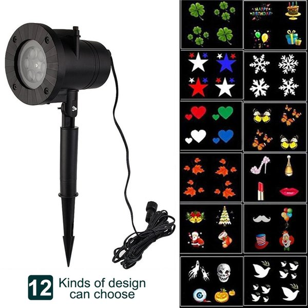 Holiday Decor Waterproof Outdoor LED Stage Lights 12 Types Christmas Snowflake Projector lamp Home Garden Lawn Star Lights
