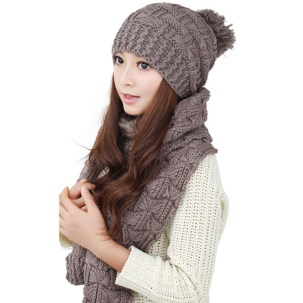 Wholesale-Free Shipping Knitting Scraf Hat 2015 Korean Fashion Cashmere Women's Winter Cap Scarves Set