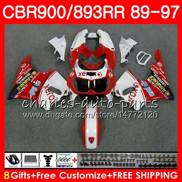 CBR 893RR per HONDA CBR900RR bianco rosso 1989 1990 1991 1992 1994 1995 1996 1997 95NO70 CBR893RR CBR893 RR 89 90 91 92 93 94 95 96 97 Carenatura