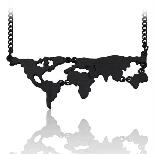 Wholesale trendy Jewelry black Gold/Silver Plated Alloy Punk Statement girl big world map Pendant Necklace For Women 2017 Hot x419