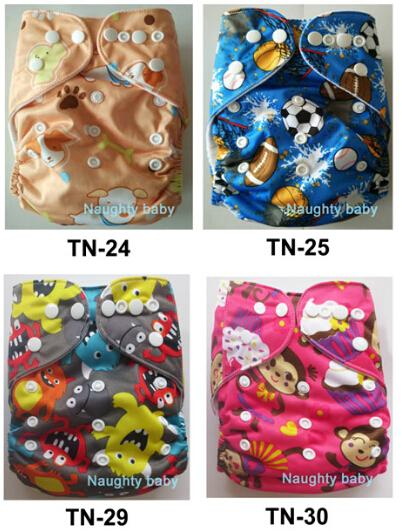 New Print Colorful Nuaghtybaby Reusable Washable Printed Cloth Diaper for Girls boys 20 sets With Inserts FREE SHIPPING