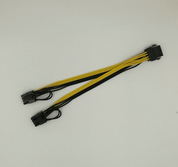 Wholesale- 10pcs/lot free shipping High quality 8 Pin CPU to PCI-E 8(6+2)pin splitter 18AWG extention power cable 20cm