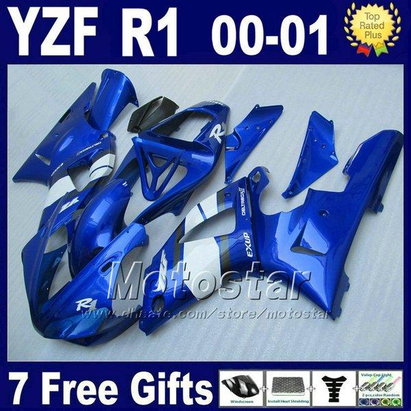 Carters bleus pour YAMAHA YZF R1 00 01 kits de carénage 2000 2001 YZFR1 yzf1000 B13C bon marché kit de pièces en plastique de bonne qualité + 7 cadeaux
