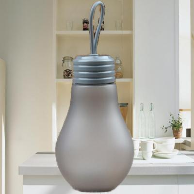 Dark gray 500 ml Students creative plastic cup lovely frosted bulb glass water bottle lift rope