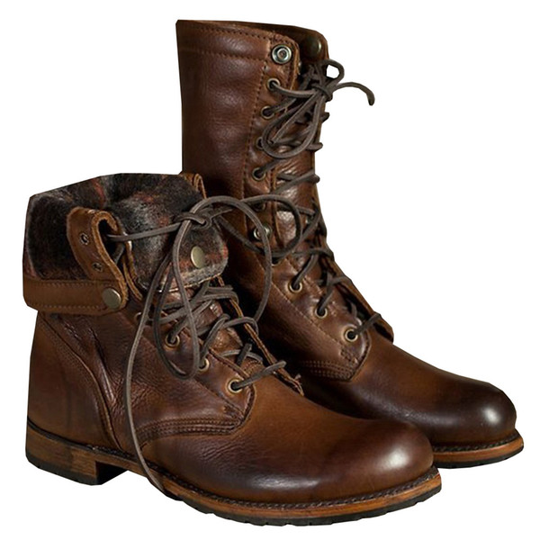 Presale 38-46 New Men Vintage Lace-up Martin Fashion Military Knight Boots Rivet Motorcycle Boots Casual Western Work Boots Plus Size