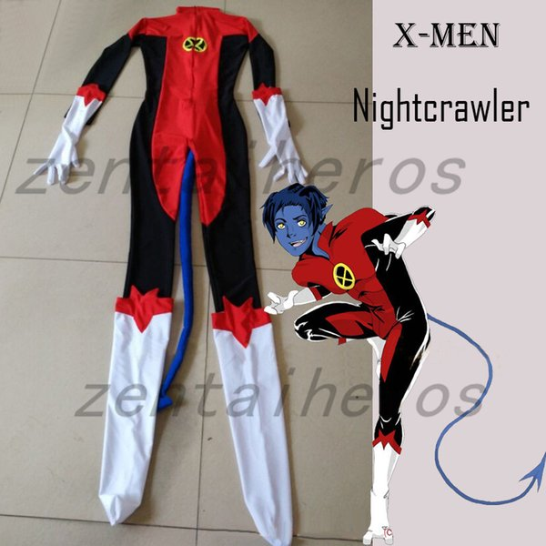 X-Men Nightcrawler Kurt Wagner Superhero Traje Masculino Red Spandex Lycra Catsuit Halloween Party Cosplay ZenTai terno