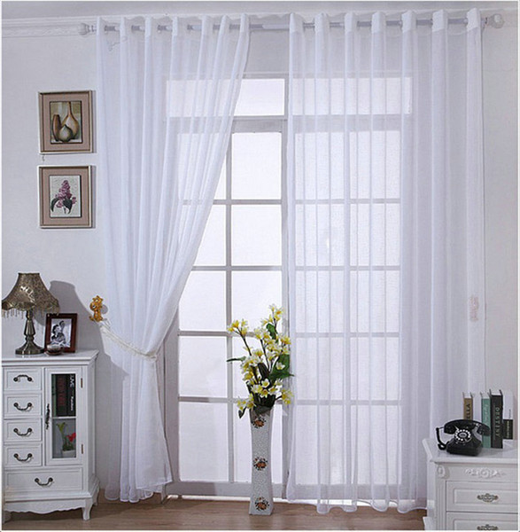 Wholesale ! One Panel Modern Solid White Bedroom Linen Sheer/Tulle /Voile  Curtains Shades For Living Room String Curtains Damask Curtains From  Bigmum, ...