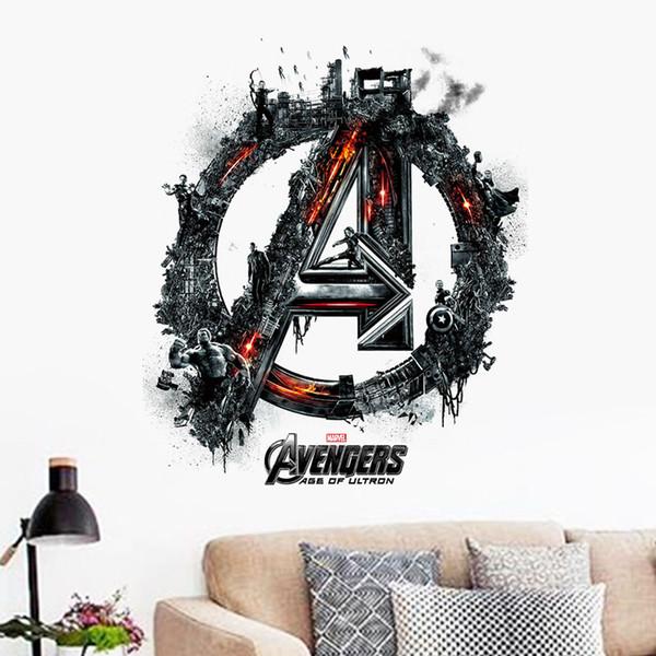 Мстители Капитан Америка 3D стикер стены наклейки на стены дети спальня фон Оптовая торговля водонепроницаемый съемный стены наклейки