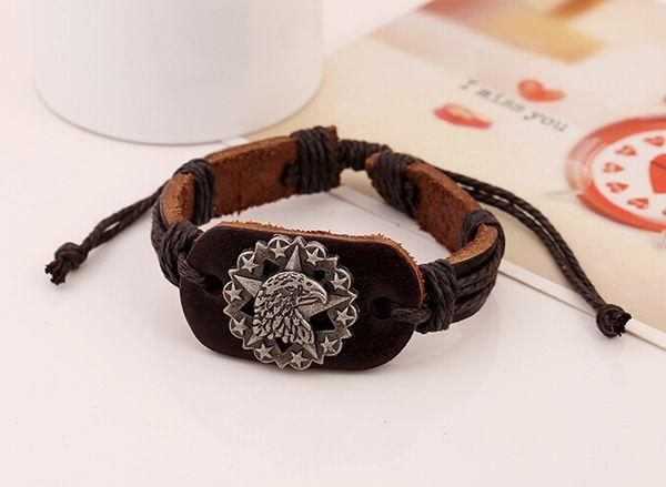 2016 latest version punk style 100% genuine leather bracelet handmade men woman Alloy The eagle head rope adjustable bracelet 10pcs/lot
