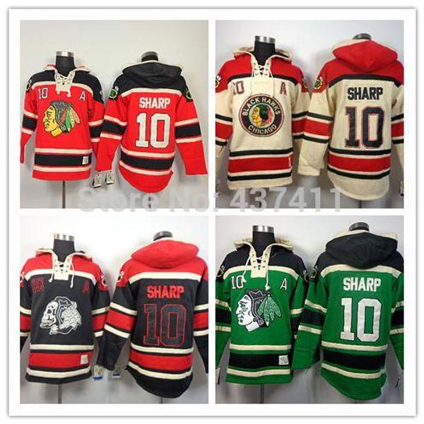 2015New Chicago Blackhawks Hoodies Formalar # 10 Patrick Keskin Eski Zaman Hokey Hoodies Tişörtü Siyah Kafatası Yeşil Kırmızı Bej M-3