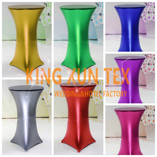 best selling 5pcs Bronzing Coated Lycra Spandex Cocktail Table Cover \ Table Cloth For Wedding Event Decoration Free Shipping