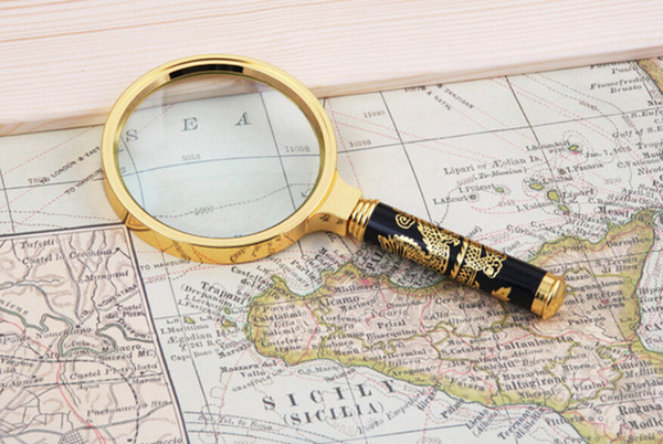 90mm large high grade gold dragon totem removable magnifying glass, hand-held magnifying glass, outdoor exploration magnifier