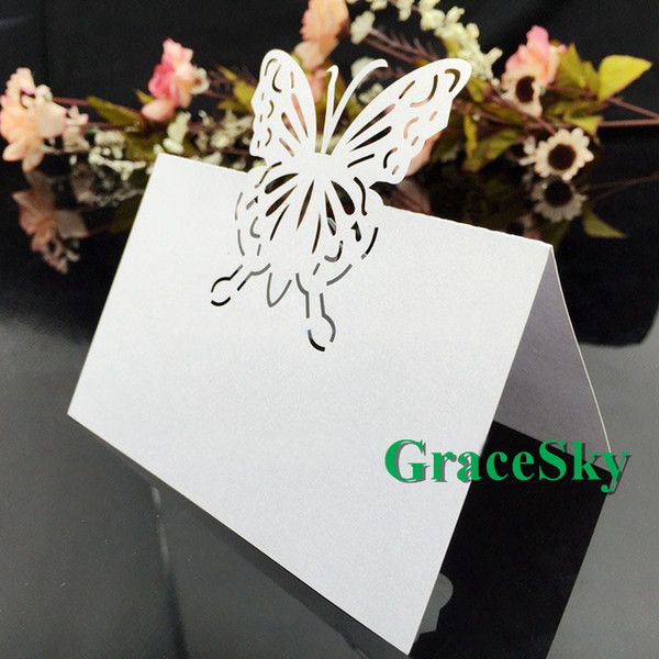 50pcs/lot Free Shipping Butterfly Design Wedding Invitation Laser Cut Paper Place Seat Name Card forWedding Christmas Table Decorations Card