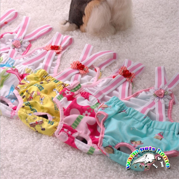 WX05 Pet Dog Panty Cute Flower Designs Colorful Pants Physiological Menstrual Period Leakproof Underwear Female Dogs Diapers