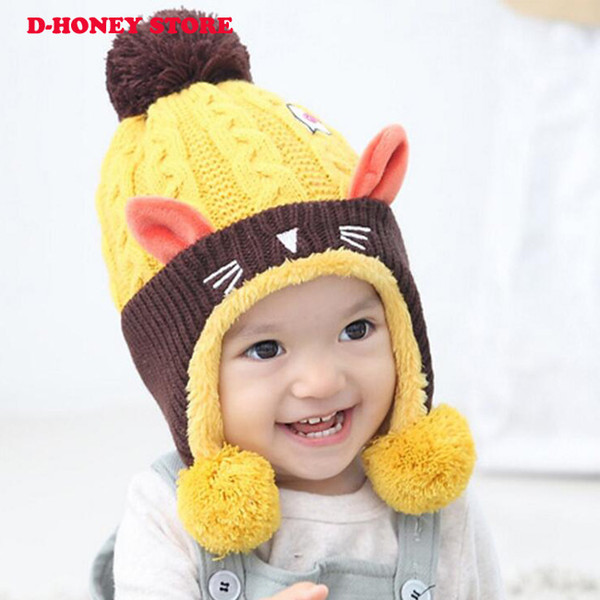 089ef54e Cute Baby Winter Hat Warm Infant Beanie Cap For Children Boys Girls Animal Cat  Ear Kids
