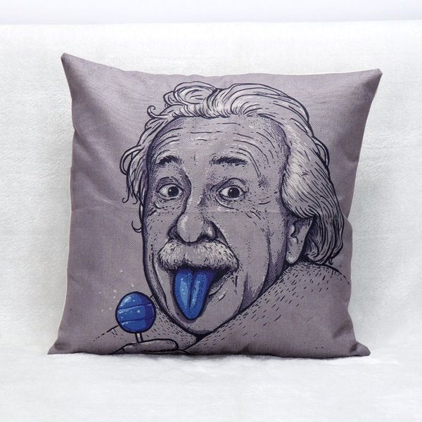 Einstein Portrait Chief Coconut Tree Camera Ink Painting Cushion Covers Decorative Linen Pillow Case For Bedroom Sofa Couch 45X45cm