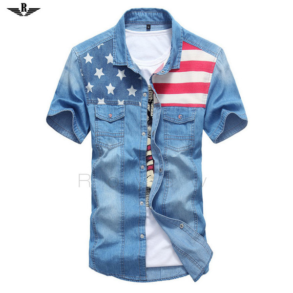 Wholesale-2015 Sommer Stil Fashion Solid Kurzarm-Shirt Flag Männlich Casual Fitness Camisa Jeans Masculina Turn-Down-Jeans-Shirt