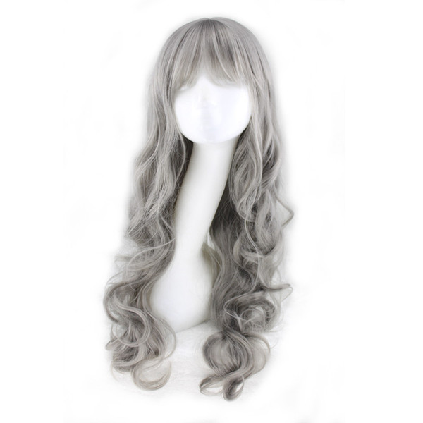 WoodFestival grey wig with neat bangs long curly synthetic wig natural wavy cheap wigs grandmother gray wigs