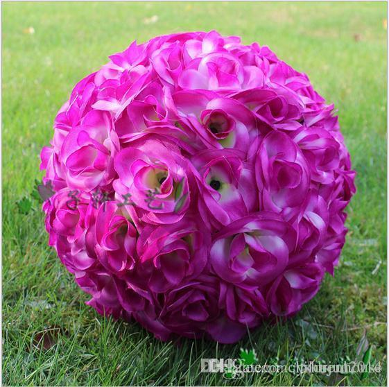 New 30 CM/12 Inch Artificial Purple Silk Rose Flower Kissing Balls Hanging Ball For Christmas Ornaments Wedding Party Decorations Supplies