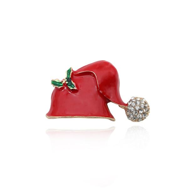 Cute Chic Strass Red Hüte Brosche Pins Weihnachten Hut Broschen Emaille Pins Für Frauen Mädchen Weihnachtsgeschenke Schmuck Broche