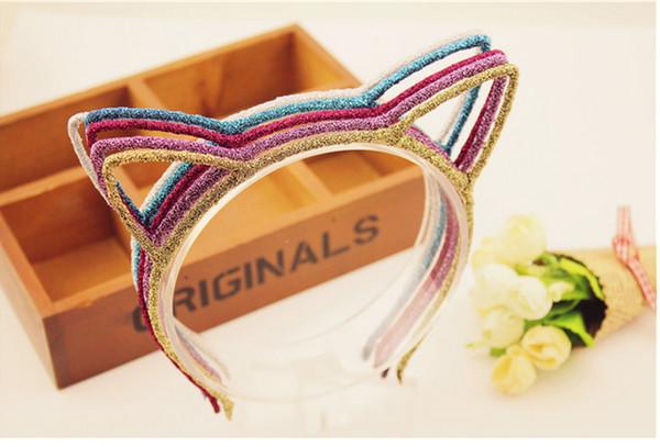 Nuove donne Glitter Cat Orecchie fascia Hairband Party Prop Hair Band Accessori Headwear 20pcs / lot