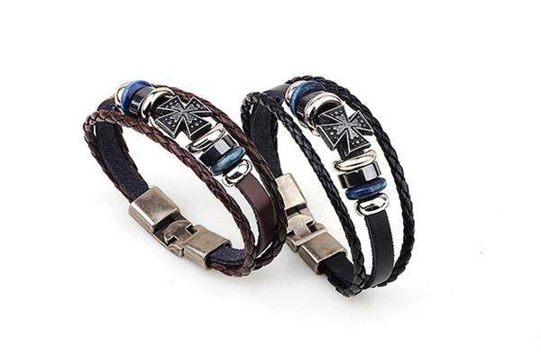 Braccialetti a mano incrociati incrociati a mano semplice braccialetti in pelle intrecciata semplice per gli uomini donne catene a mano braccialetto braccialetto gioielli all'ingrosso