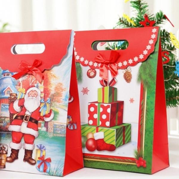 12 pcs Saco de Presente de Papel Dos Desenhos Animados Papai Noel Boneco de Neve Impresso Candy Chocolate Saco de Papel Feliz Natal Presente Sacos de Embalagem Do Partido q171130