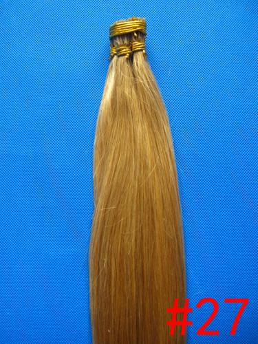 "wholesale 200s/pack 1g/s 14''- 24"" Keratin Stick I Tip Human Hair Extensions Peruvian hair 27# dark blonde dhl Fast shipping"
